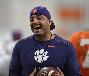 Clemson co-offensive coordinator and running backs coach Tony Elliott said freshman Travis Etienne has been Clemson's most productive runner at camp, but Etienne still must develop as a pass protector.