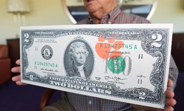 Dollar Bill $2 CLEMSON TIGERS Two Stamped with Tiger Paw Logo