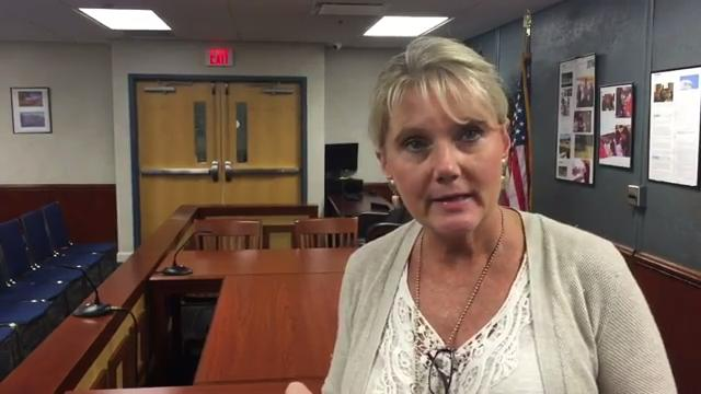 Nichols Town Clerk Sandee Rogers talks about efforts to rebuild her town following the devastating flood a year ago caused by Hurricane Matthew.
