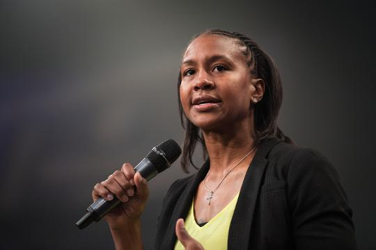 Retired WNBA player Tamika Catchings speaks at the Coaches 4 Character event at Redemption Church.