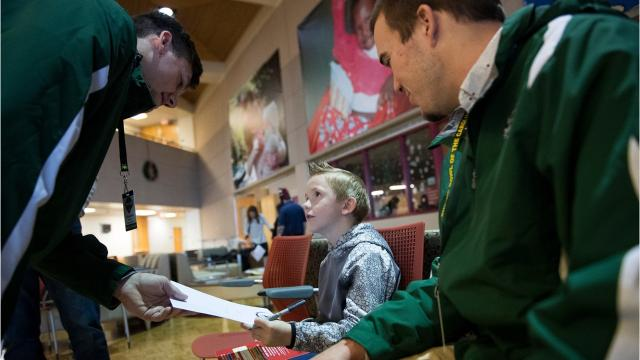 Shrine Bowl players from North and South Carolina visit Shriners Hospitals for Children — Greenville on Sunday, Dec. 10, 2017.