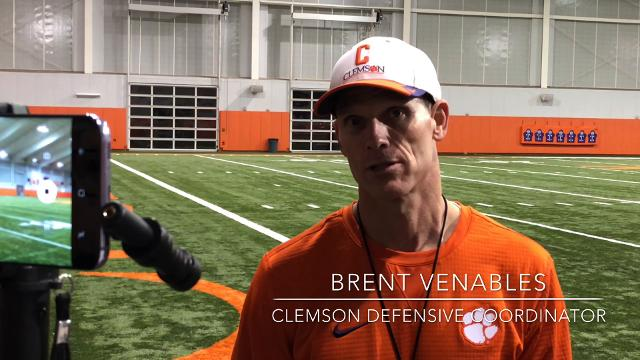 Clemson defensive coordinator Brent Venables spoke Thursday about the challenges Alabama's skill players present.