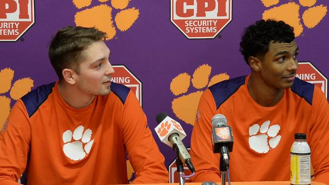 Donte Grantham and Mark Donnal talk about beating Miami in Littlejohn Coliseum on Saturday.