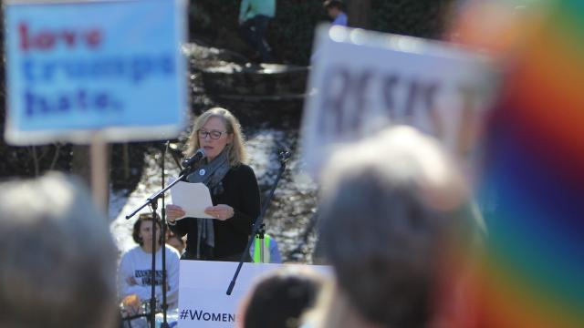 More than a thousand women and supporters rallied in downtown Greenville for the anniversary of the Women's March.