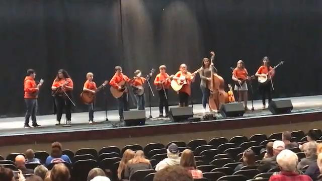 """The Sweet Potato Pie Kids perform """"Wildwood Flower"""" at the 2018 Winter Bluegrass Jubilee at Pickens High School on Saturday."""