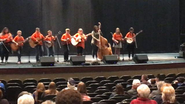 """The Sweet Potato Pie Kids perform """"Cripple Creek"""" at the 2018 Winter Bluegrass Jubilee in Pickens on Saturday"""
