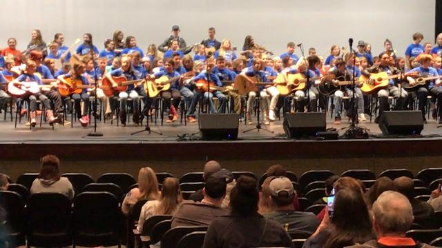 "First year students of the Young Appalachian Musicians program perform ""Little Liza Jane"" at the 2018 Winter Bluegrass Jubilee at Pickens High School on Saturday"