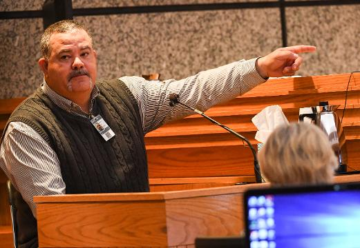Fireman Jamie Brock talks about the day of the Townville Elementary School shooting during a waiver hearing for Jesse Osborne in Anderson on Tuesday, February 13.