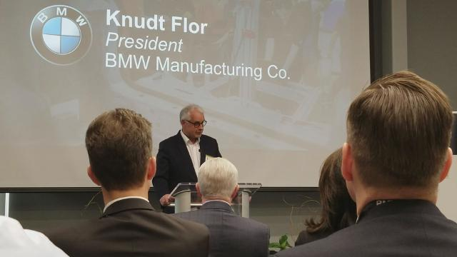 BMW Manufacturing CEO and President Knudt Flor speaks at the Vehicle Assembly Center grand opening on Thursday, Feb. 15, 2018.
