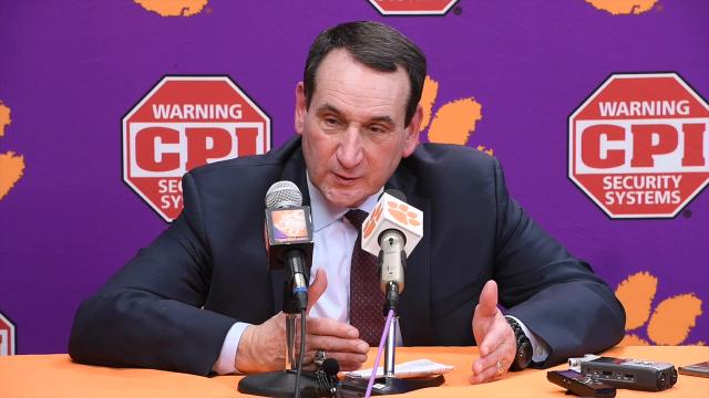 Duke head coach Mike Krzyzewski on defending Clemson's DeVoe and Reed.