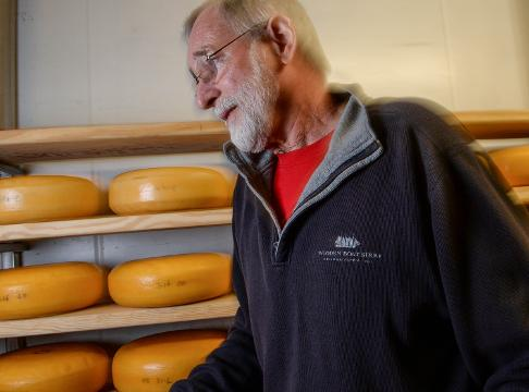 Ron Lubsen looks at blocks of Gouda cheese at Forx Farm on Dobbins Bridge Road in Anderson on Monday.  Gouda, one of the oldest known cheeses and dating back to before 1200, is famous around the world.