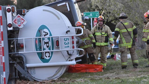 A tanker with aviation fuel overturned on Murphy Road in Belton on Friday.