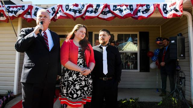 U.S. Army veteran Aaron Hillis was awarded a mortgage-free home in Boiling Springs through U.S. Bank and the Freedom Alliance.