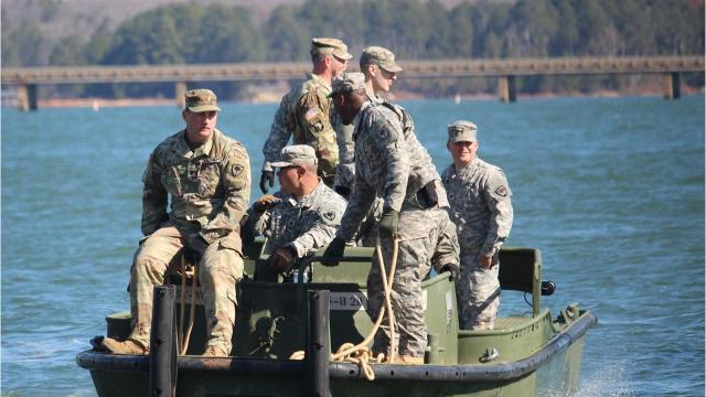 Members of the South Carolina Army National Guard 125th Multi-Role Bridge Company, 2nd platoon, from Abbeville assembled a floating dock Thursday at Green Pond Landing  and Event Center. Spectators will be able to use the dock when the Bassmaster Classic gets underway Friday.