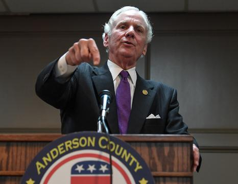 Gov. Henry McMaster talks about his views on offshore drilling during a campaign stop in Anderson on Monday, March 19, 2018.