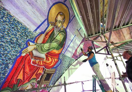 St. George Greek Orthodox Cathedral mosaic installation.