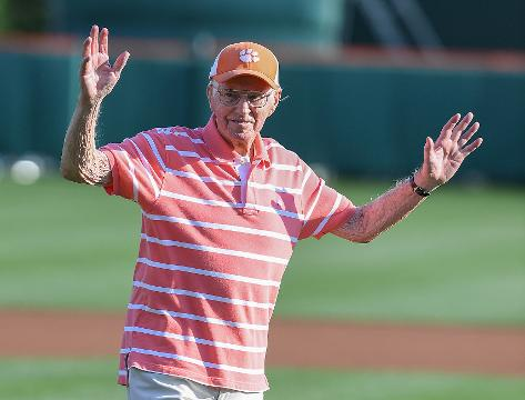 Eighty-seven-year-old Clemson fan throws out first pitch.