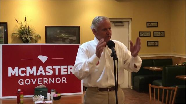 Gov. Henry McMaster attended a faith breakfast at Mama Penn's restaurant on Thursday as part of his campaign's bus tour around the state.