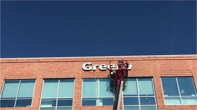 The Greenville News got its new sign at its downtown location Wednesday, Aug. 29, 2018.
