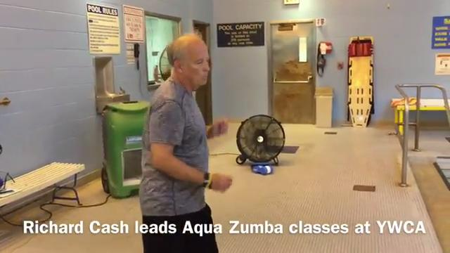 Instructor Richard Cash leads a group during Aqua Zumba classes at the Lafayette YWCA