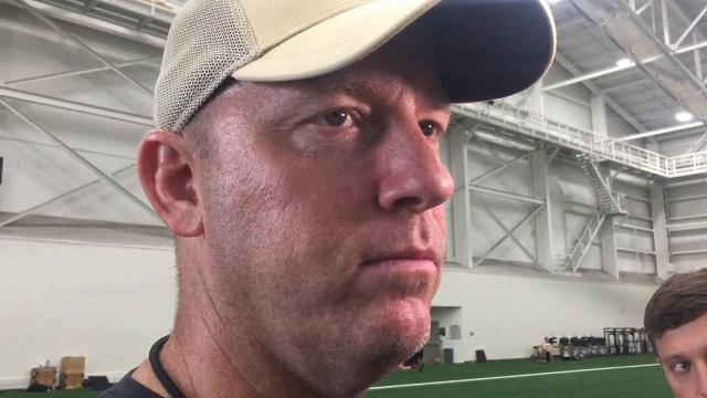 Purdue football coach Jeff Brohm on first practice