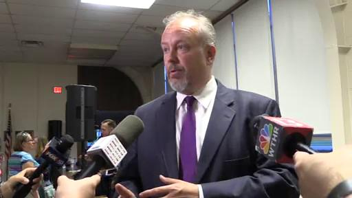 Steve Baule, superintendent with Muncie Community Schools, spoke to the media after the Aug. 8 meeting of the school board.