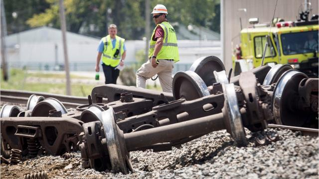 Derailed train cars near Ind. 3 and Riggin Road halted train traffic and blocked intersections around 12:30 p.m. Wednesday. Seven train cars, including an ethanol tanker, were involved in the derailment near Carter Lumber. Early reports indicated at least three of the cars were empty.