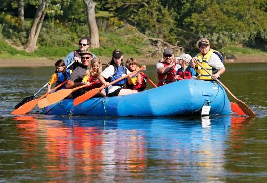 Fifth graders from Battle Ground Intermediate School along with their adult leaders raft the Wabash River as part of Battle Ground River Wrats (Wabash Rafting with Adventurous Tomahawk Scientists) Wednesday, August 30, 2017, in West Lafayette.