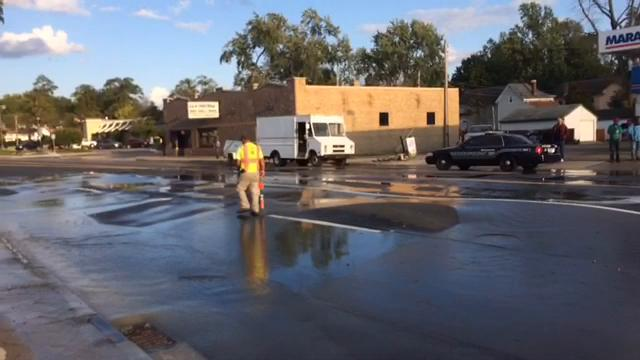 A water main broke under the 1600 block of East Main Street, causing the road to bubble and water to seep through countless cracks in the road and sidewalk.