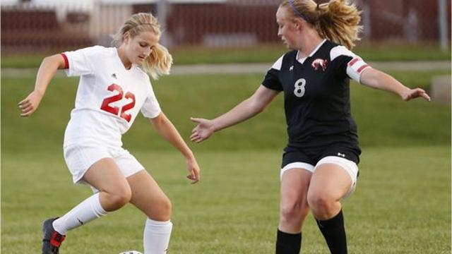 Aleah Whaley escapes the difficulties of her father's illness on the soccer field. Produced by Joe Mutascio/Journal & Courier.