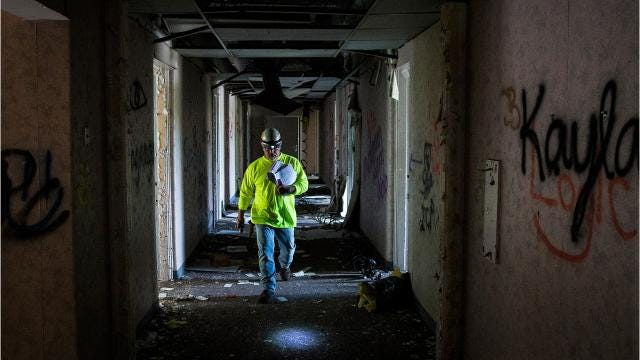 More than 50 contractors took a pre-bidding tour of the Old Reid Hospital.