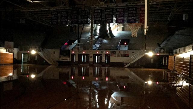 FILE -- Muncie Mayor Dennis Tyler speaks with The Star Press, and grants access inside the Muncie Fieldhouse after severe weather substantially damaged the building in November.