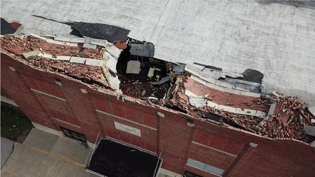 Aerial video of the damage on the Muncie Fieldhouse after severe weather battered the building Sunday afternoon.