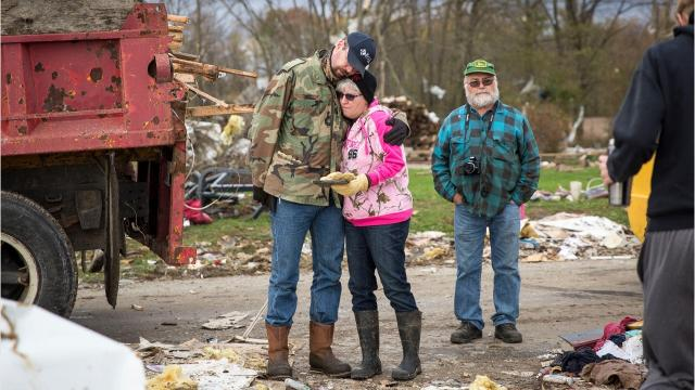 Houses and barns were flattened or damaged, and lives turned upside-down across Jay County Sunday afternoon. A confirmed tornado swept a path 25-miles across both Jay and Blackford Counties, leaving residents to pick up the pieces.