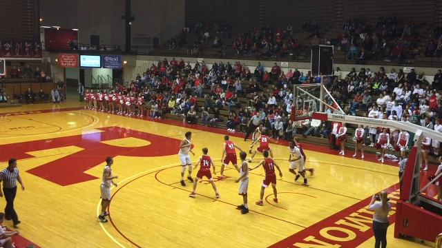Richmond's boys basketball team dropped a difficult 49-42 decision to New Palestine Wednesday, Nov. 22, 2017 at Tiernan Center.