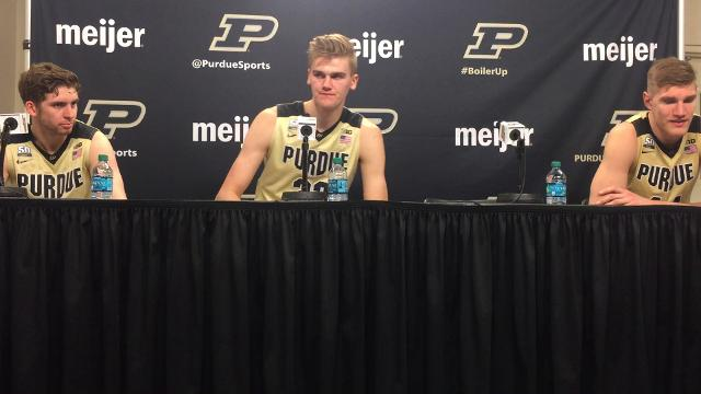 Ryan Cline, Matt Haarms and Isaac Haas discuss their 10th straight victory and a 3-0 Big Ten Conference start.