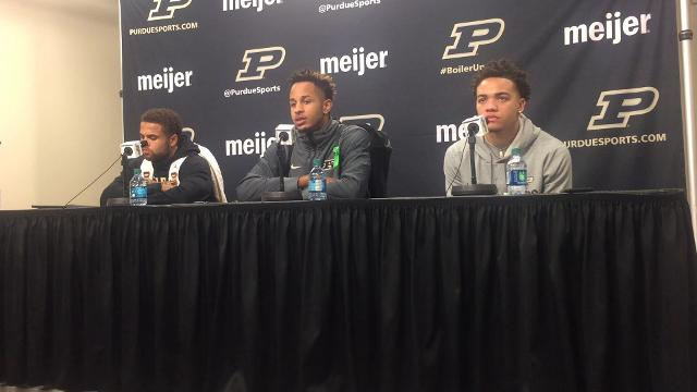 P.J. Thompson, Vincent Edwards and Carsen Edwards discuss their 14th straight victory.