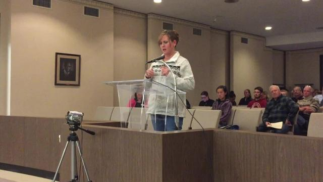Tia Penaranda, whose online petition led to changes to Richmond's animal welfare ordinance, addresses Richmond Common Council during a public hearing on the ordinance on Tuesday, Jan. 16, 2018.