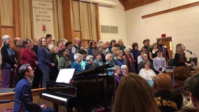 "The Blue Moon Rising Community Choir sings ""Ain't Gonna Let Nobody Turn Me Around"" during the ""Stand for Love, Sing for Justice"" service at Unitarian Universalist Church in West Lafayette"