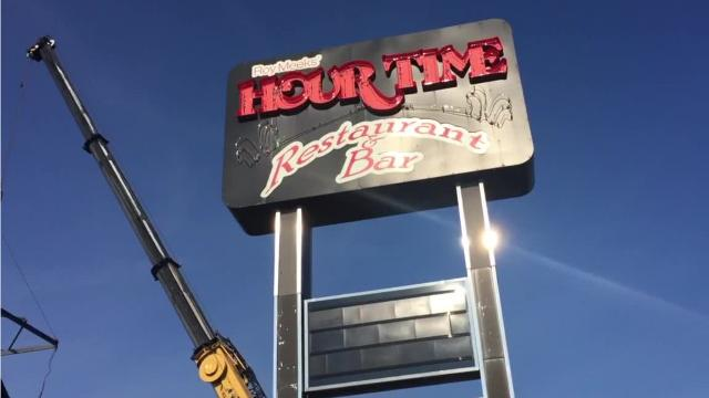 In this video from August 2016, the iconic clock at the Indiana 26 entrance to Lafayette is plucked from atop the closed Hour Time restaurant.