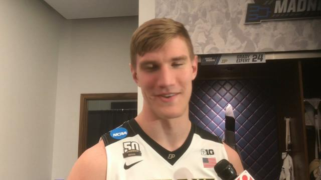 The Boilermakers senior center on his elbow injury and watching his teammates win their 30th game and advance to the Sweet 16.