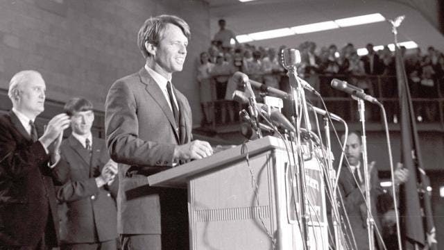 Excerpts from the Robert F. Kennedy speech on April 4 given at Ball State University in 1968. Kennedy was told about the assassination of Dr. Martin Luther King Jr. after the speech, later giving another speech in Indianapolis that focused on King's death. Video excerpts are courtesy of Ball State University Archives and Special Collections.