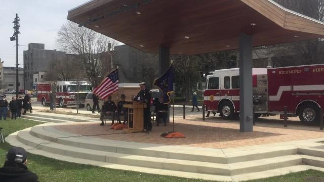 During a ceremony Friday to dedicate a new monument, the names of the 41 victims of the April 6, 1968, explosions in downtown Richmond were read by a member of the Richmond Fire Department Honor Guard.