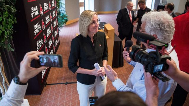 Beth Goetz answers questions on a variety of topics after being introduced as Ball State's next athletic director.