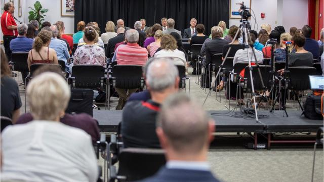 This is the full meeting of the Ball State University's board of trustees meeting. The board voted Thursday to remove the name of John H. Schnatter from the university's Institute for Entrepreneurship and Free Enterprise.