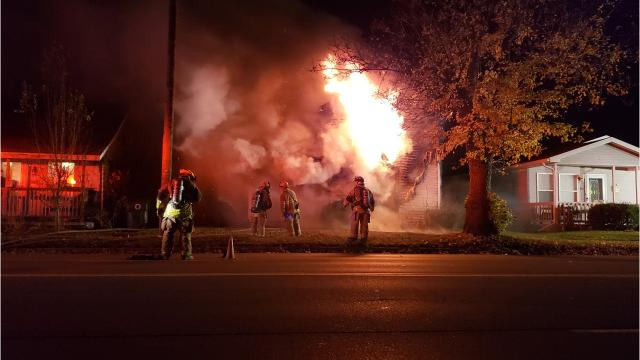Firefighters battled a house fire on West Memorial Drive late Tuesday, Nov. 6, 2018.