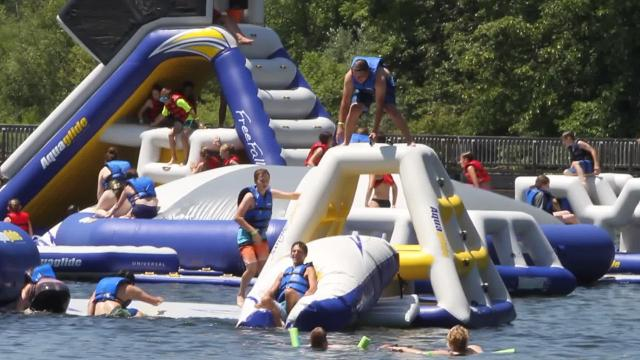 Jump Island-Brighton, located inside the Brighton State Recreation Area., opened earlier this summer and offers patrons a chance to cool off in a whole new way.