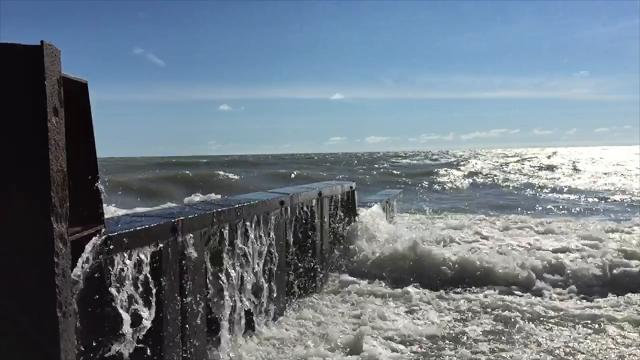 Lake Huron was in a rambunctious mood in July after two days of a north wind. More big waves are expected today.
