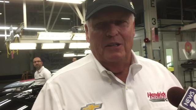 """NASCAR race team owner Rick Hendrick rolled his VIN 001 Camaro ZL1 1LE off the line Thursday, Aug. 10, 2017 at the Lansing GM Grand River Assembly plant. Hendrick, a 40-year Chevy dealer, said he's a """"Chevrolet junkie."""""""