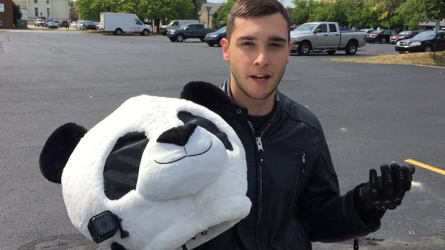 Rick Isaac is turning heads with his panda helmet